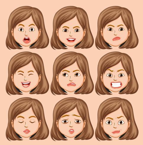 Set av flickhuvud med olika ansiktsuttryck vektor