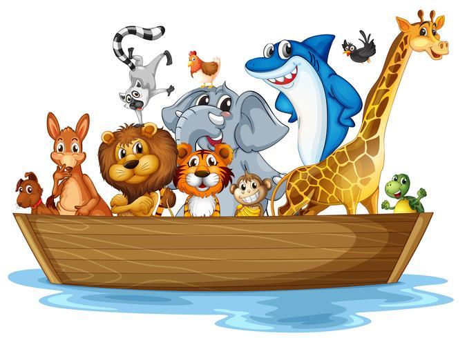 Djur på båt vektor