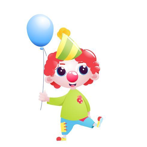 En liten pojkens clownkaraktär sjugglar och skämt och står med en ballong längst ner på födelsedagen. Vektor tecknad illustration