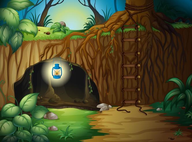 En grotta i djungeln vektor