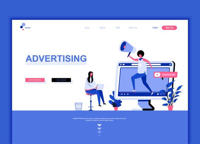 Moderna platt webbdesign mall koncept Reklam och Promotion dekorerade människor karaktär för webbplats och mobil webbutveckling. Platt målsida mall. Vektor illustration.