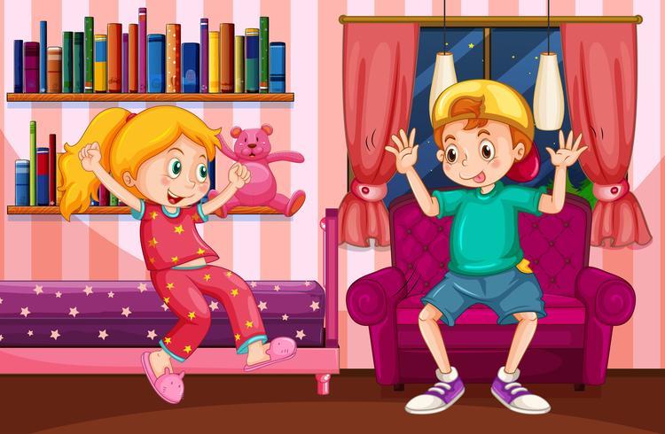 Pojke och tjej som leker i sovrummet vektor