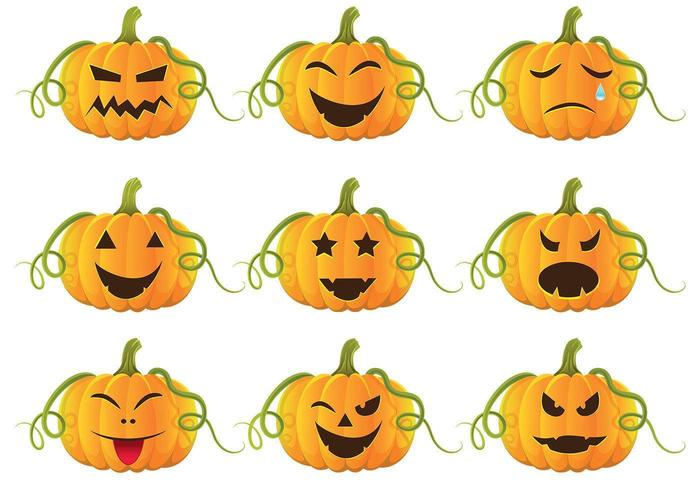 Halloween pumpor vektor pack