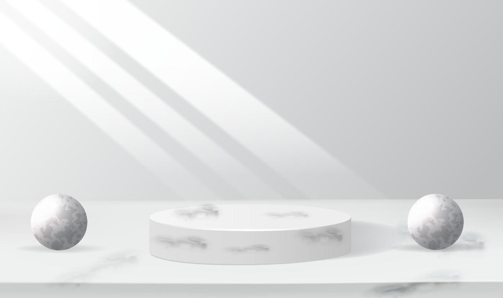 3D-Grau-Render-Hintergrundvektor mit weißer Podiumsproduktpräsentation, Kosmetik, Podium, Bühne vektor