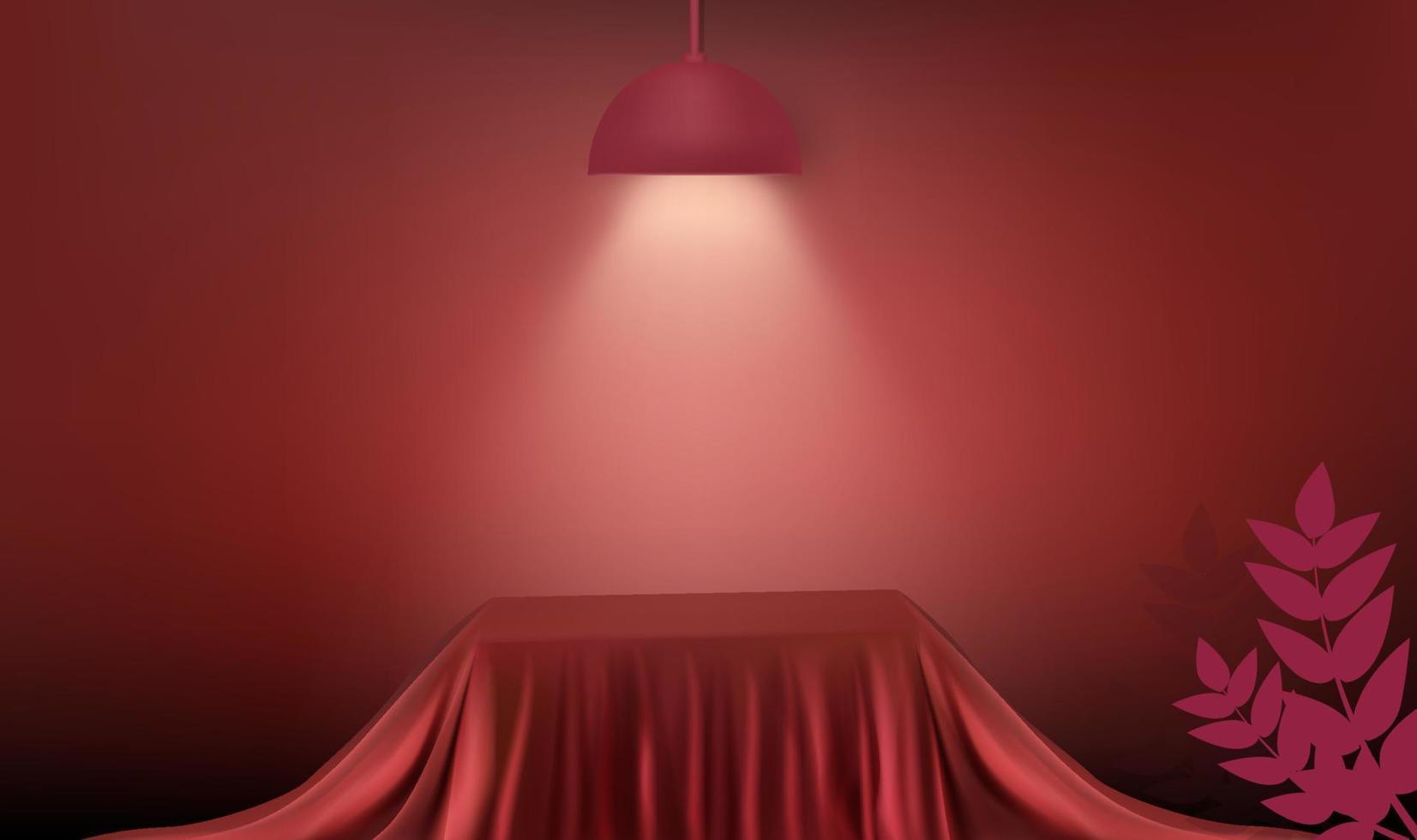 abstrakte 3D-Rendering für die Anzeige. Moderner roter Seidenstoff Würfel Podium Hintergrund leerer Raum mit Lampe und Licht vektor