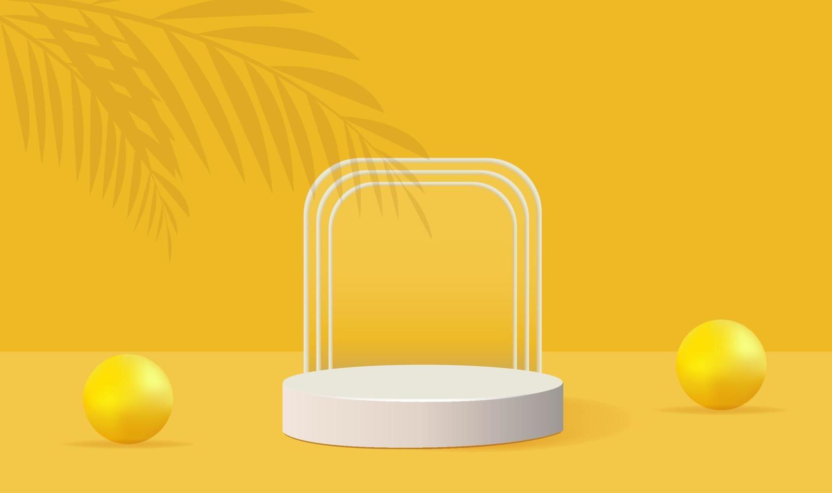 minimalistische geometrische Form des gelben Podiums mit Palmen- und Blasenschatten vektor