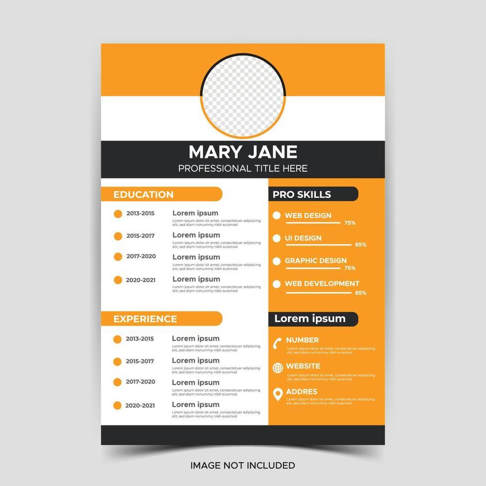 schöner Lebenslauf Lebenslauf Vorlage elegantes stilvolles Design Vektor orange Hintergrund