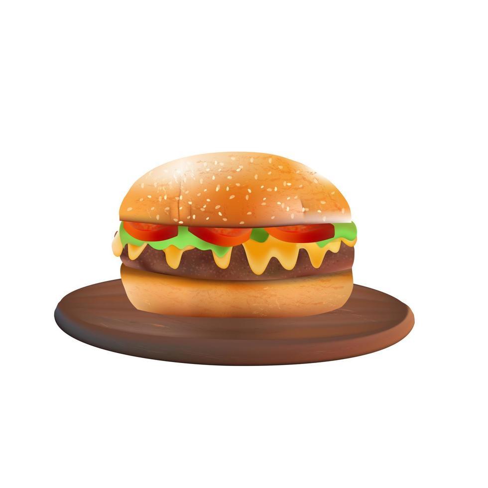 leckere realistische Burger in einem transparenten Hintergrund vektor