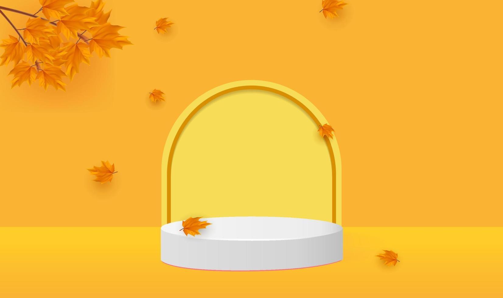 leeres minimalistisches Podium im Herbst vektor