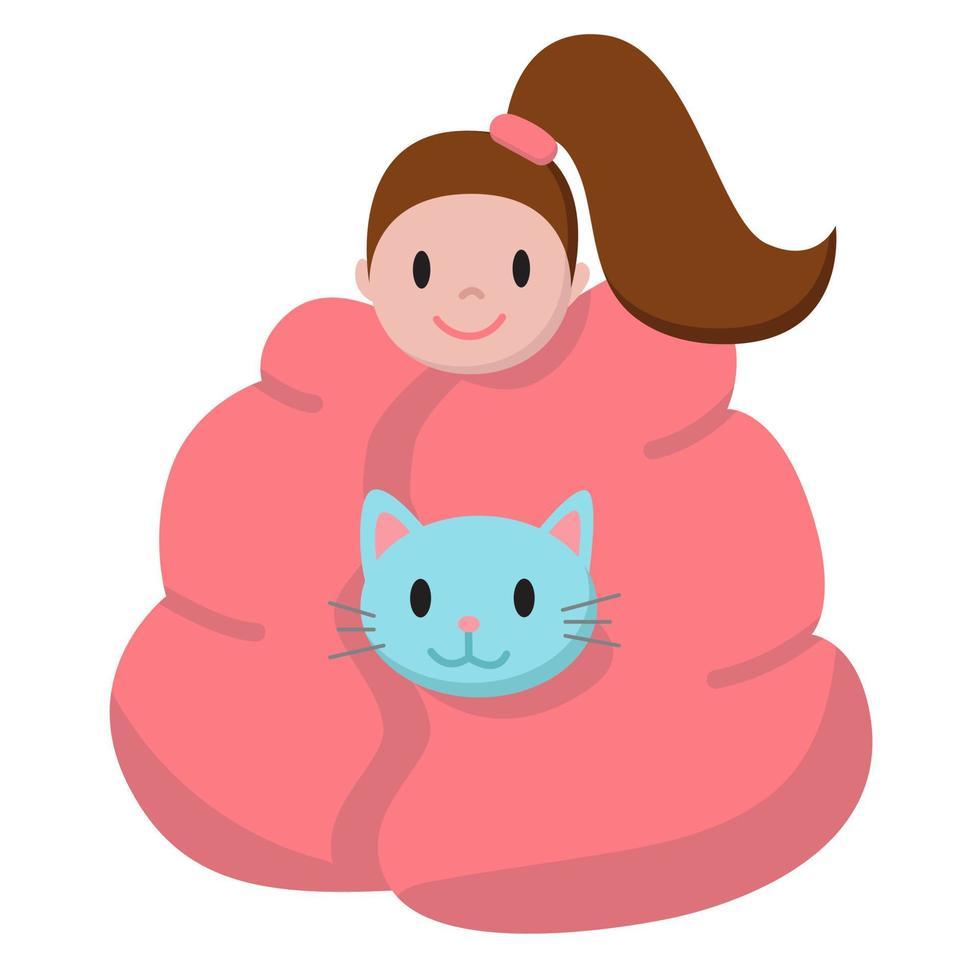 Lustiges Cartoon-Mädchen und ihre Katze, die zu Hause unter der warmen Decke sitzen. flache Illustration für Stickerpack, Emoji. gemütliches Herbst- und Winterkonzept. Druck für Textilien, Banner, Karten, Dekor vektor