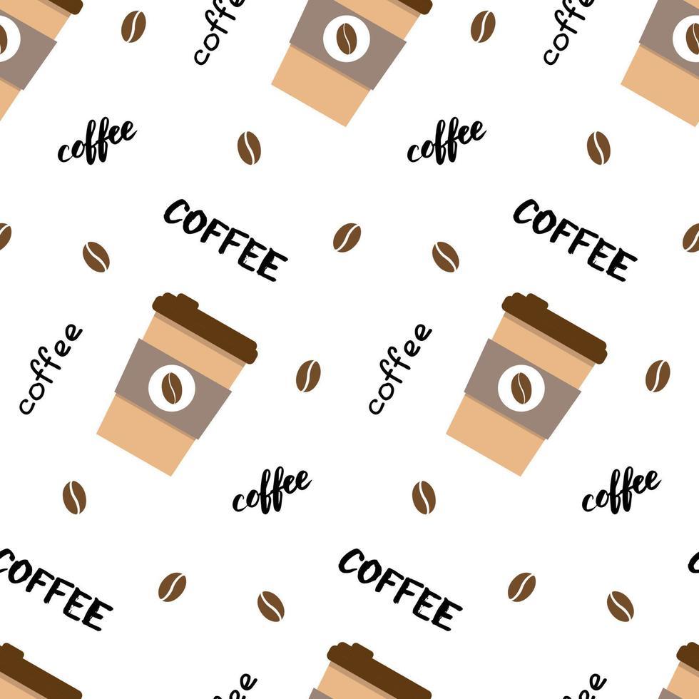 Vektor nahtlose Muster mit Kaffeetasse, Schriftzug und Bohnen. schöner Druck in Pastelltönen. Hintergrund für Textilien, Kleidung, Cafés, Cafés und Dekor. süße Illustration