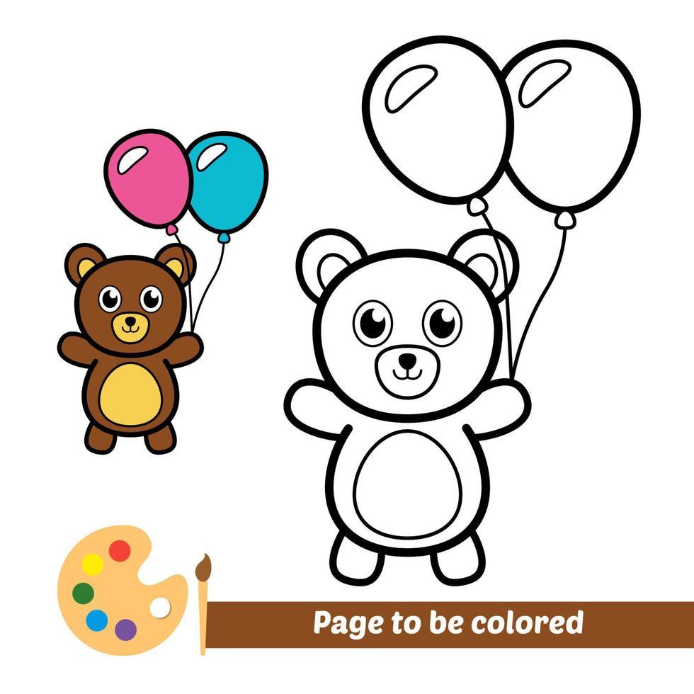 Malbuch, Bär spielt Luftballons vektor