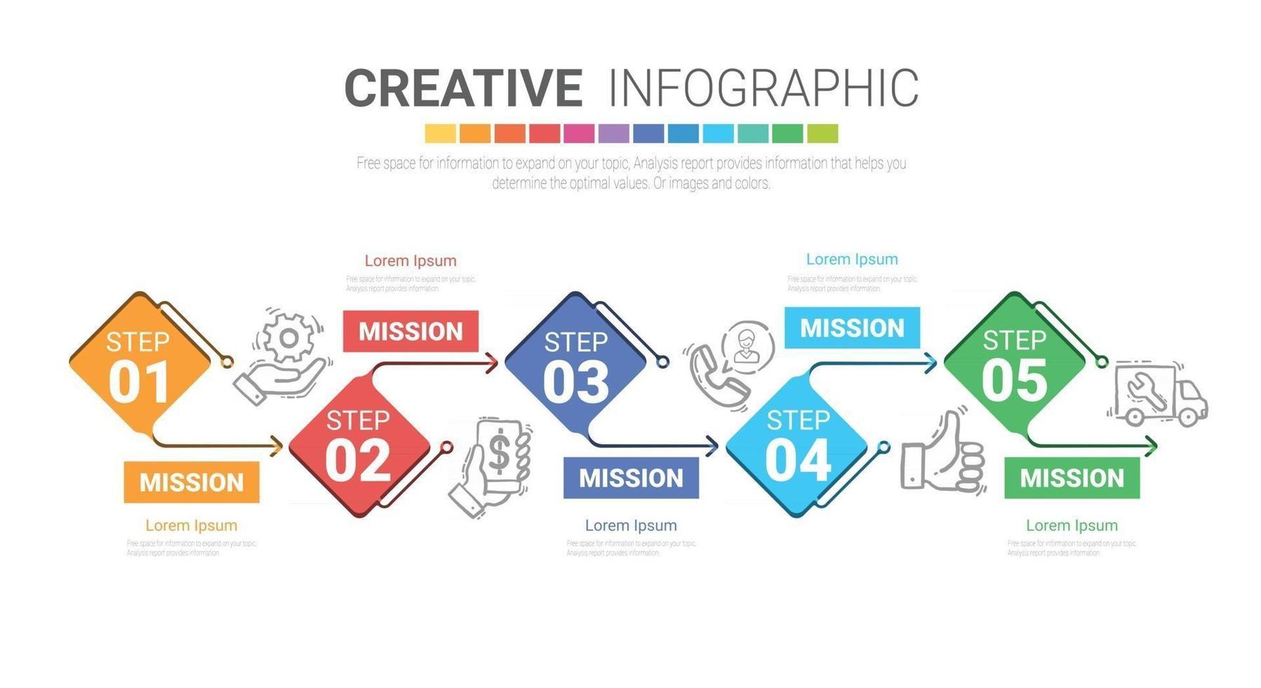 Präsentations-Infografik-Vorlage mit 5 Optionen, Vektor-Infografiken-Design. vektor