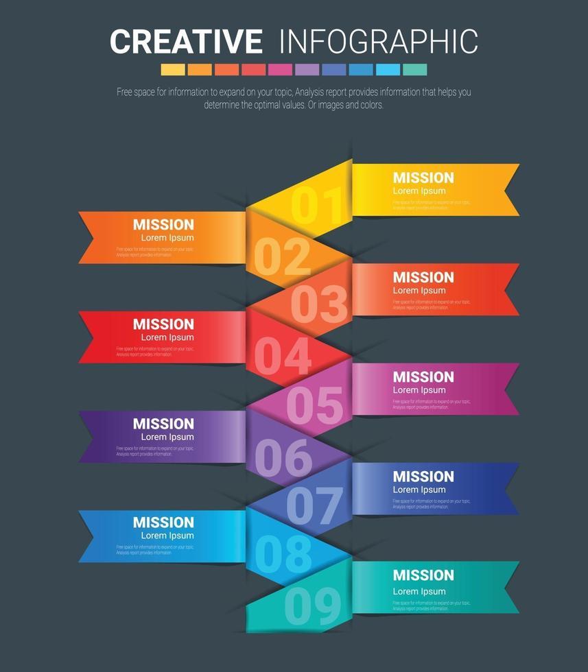 Vektorgrafik-Infografik-Design-Vorlage mit Symbolen und 9 Optionen oder Schritten. vektor
