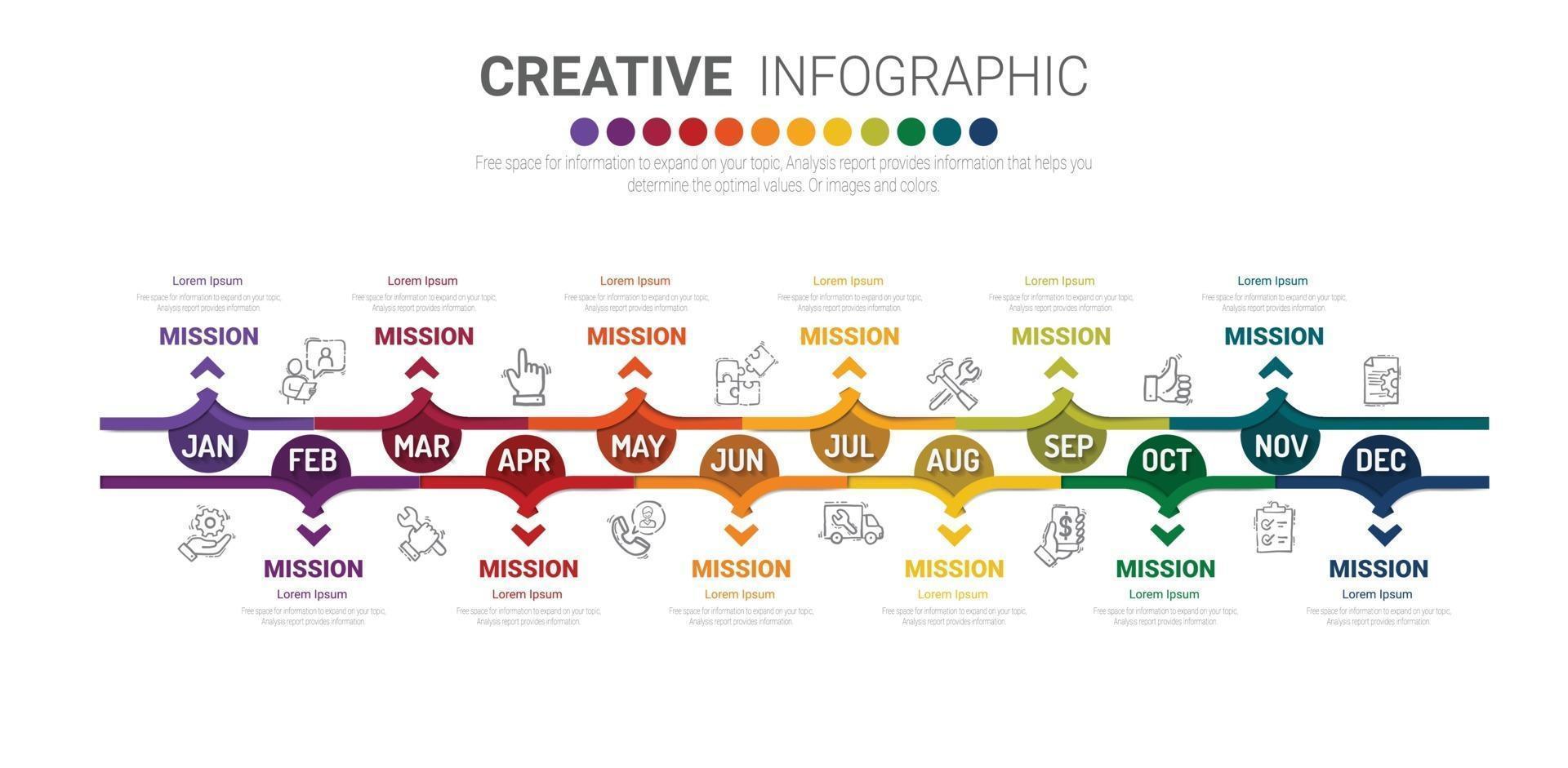Jahresplaner Infografiken Design Vektor- und Präsentationsgeschäft vektor