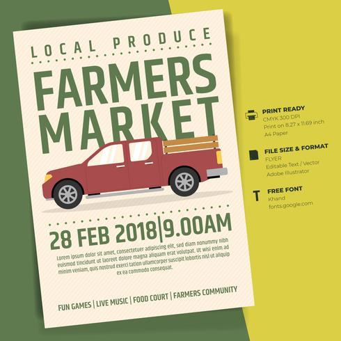 Markt-Flieger-Plakat-Einladungs-Schablone des Landwirts vektor
