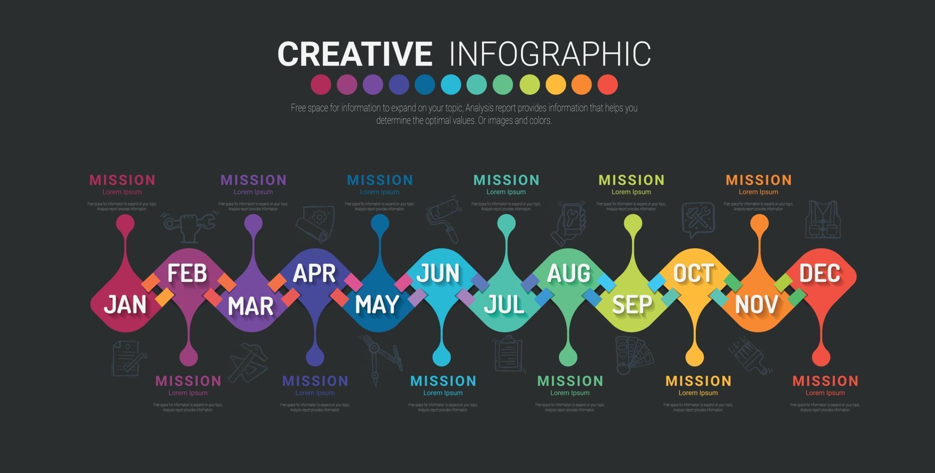 Infografiken den ganzen Monat Planer Design und Präsentation Geschäftskonzept mit 12 Optionen. vektor
