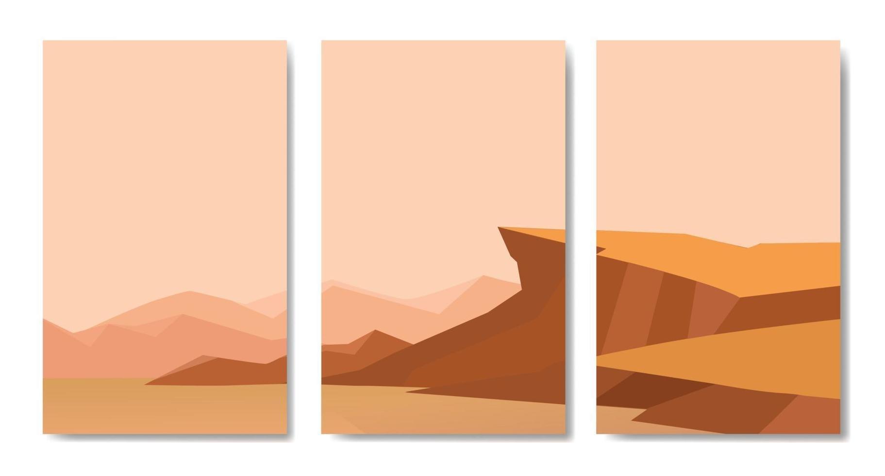Landschaftsvektorsatz, minimalistische Landschaftscollagen vektor