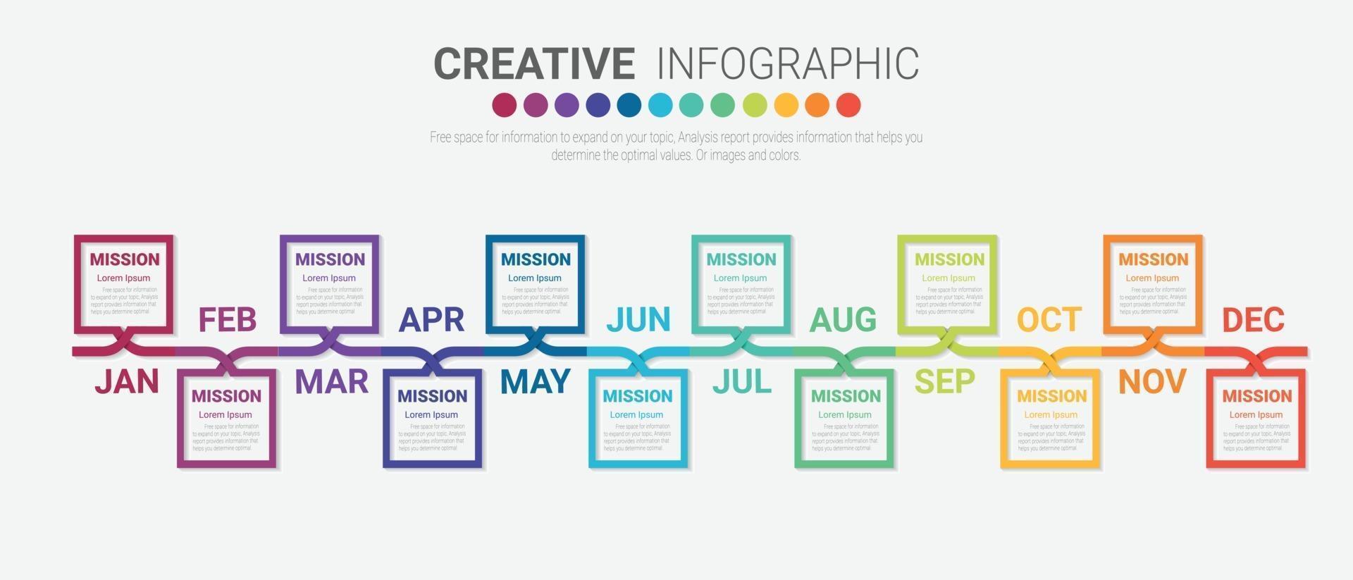 Zeitleiste für 12 Monate, Infografiken den ganzen Monat Planer-Design vektor