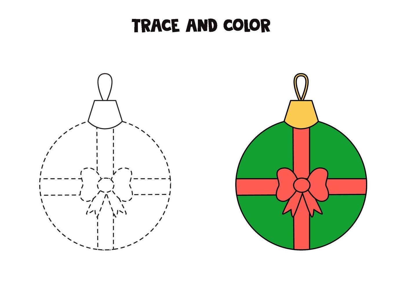 Spur und Farbe Cartoon Weihnachtskugel. Arbeitsblatt für Kinder. vektor