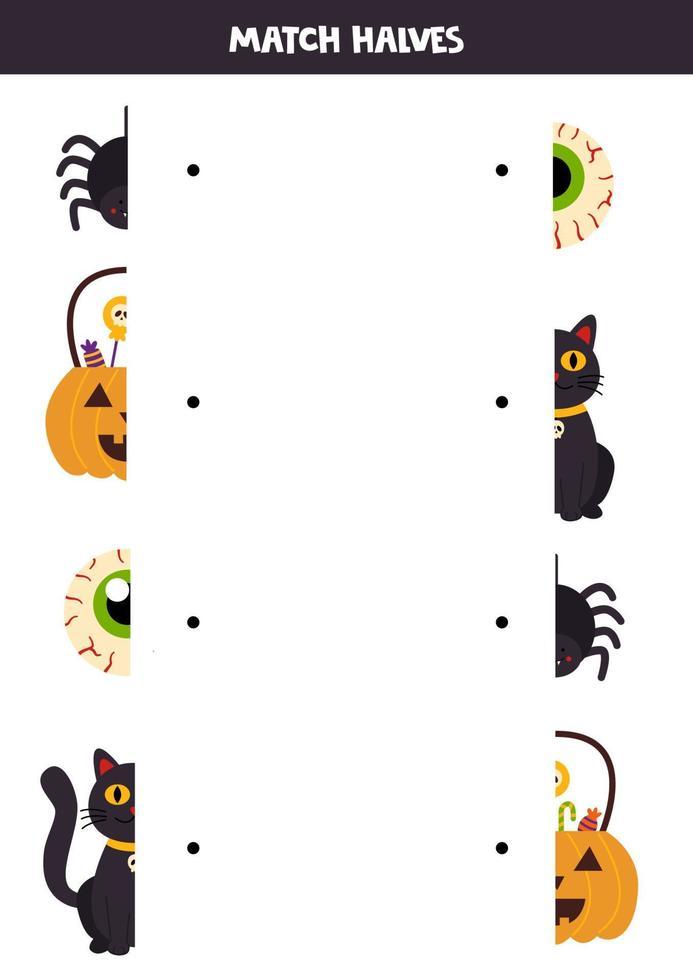 Match Teile von Halloween-Bildern. logisches Spiel für Kinder. vektor
