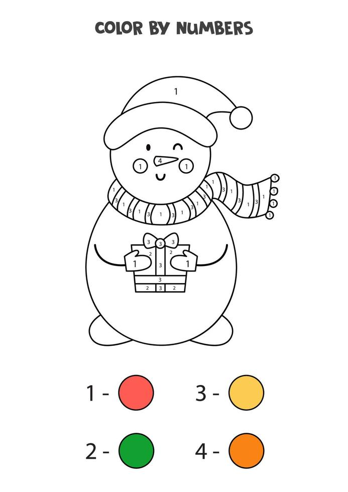 Farbe niedlichen Cartoon-Schneemann nach Zahlen. Arbeitsblatt für Kinder. vektor