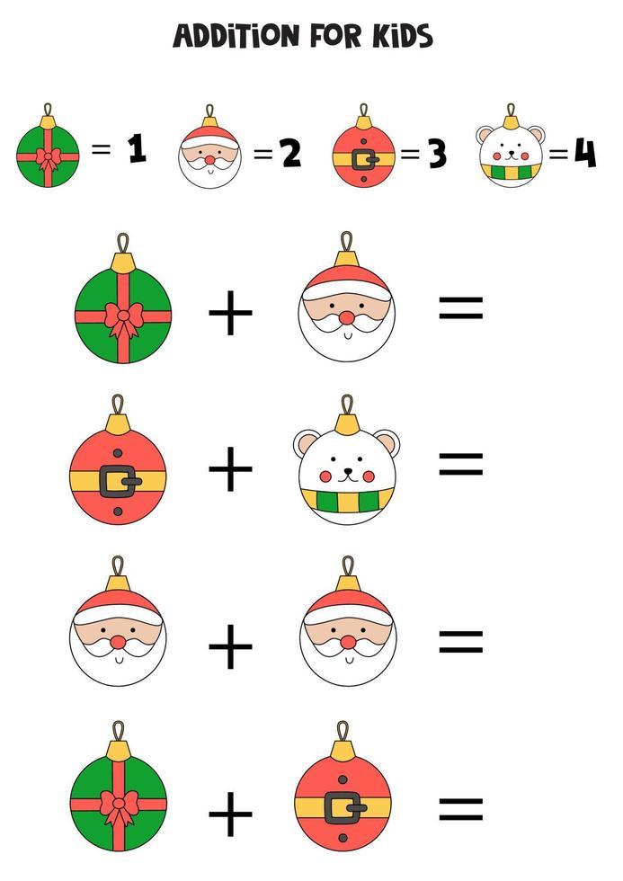 Ergänzung für Kinder mit niedlichen Cartoon-Weihnachtskugeln. vektor