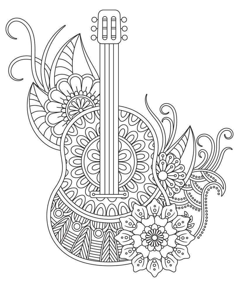 Gitarre Malvorlagen für Erwachsene. Antistress- und Entspannungsmeditation. vektor