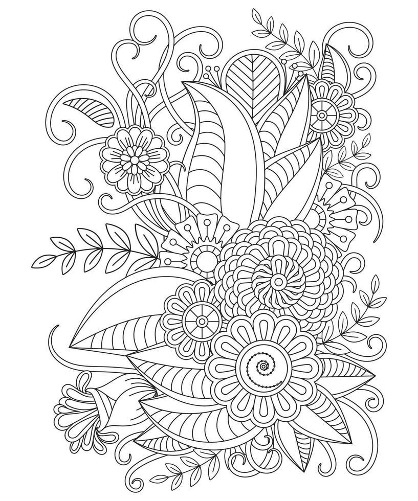 Blumen-Malvorlagen für Doodle-Stil vektor