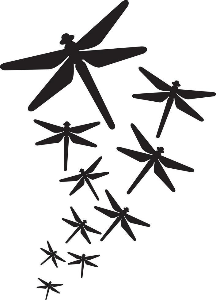 Gruppe fliegender Libelle vektor