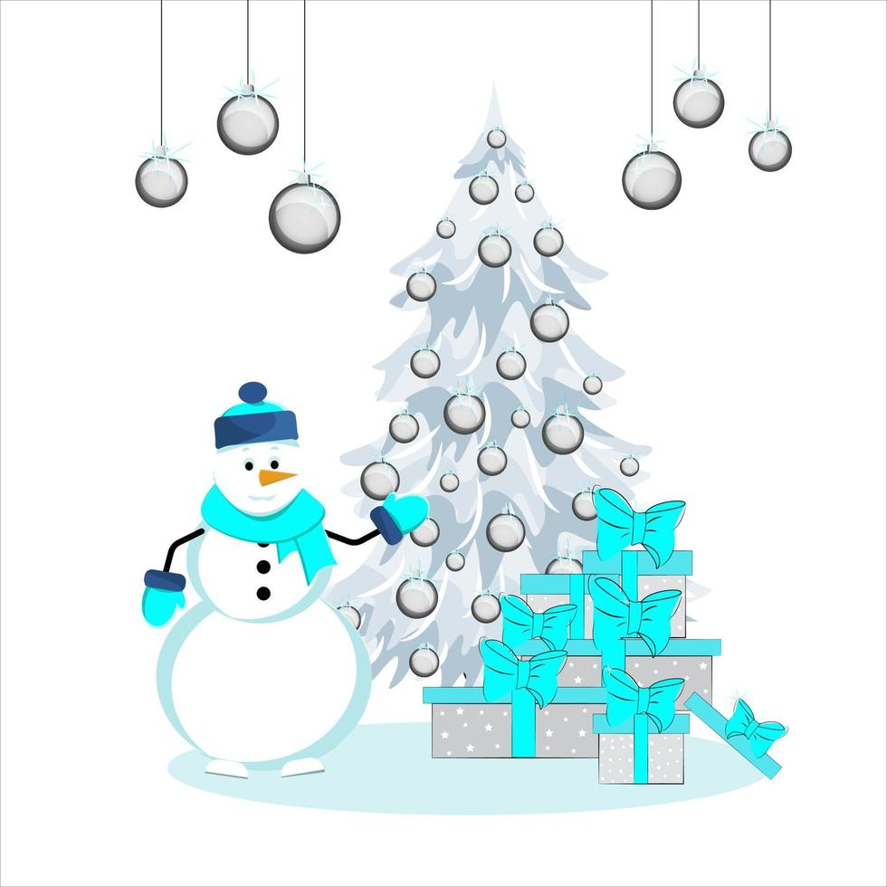 lustiger Schneemann schmückt einen Weihnachtsbaum. Weihnachtsbaum und Geschenke. Vektor-Illustration. vektor