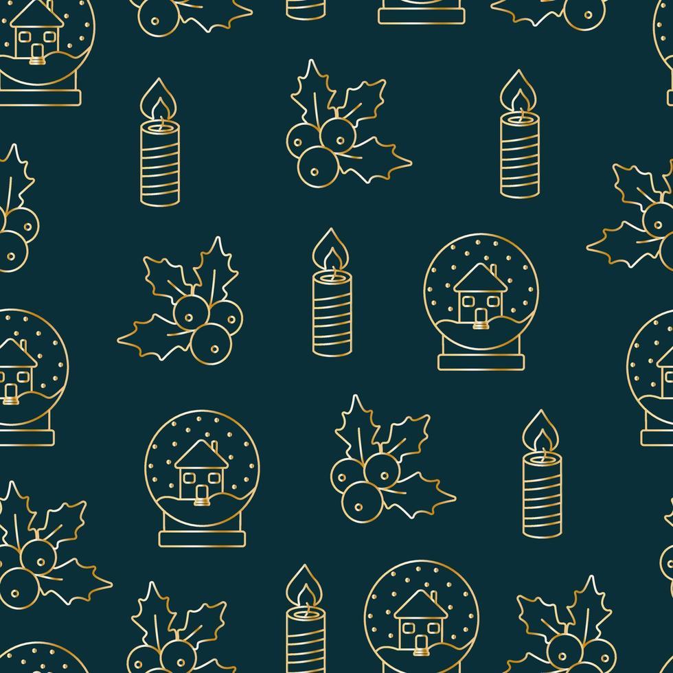 Weihnachten nahtlose Muster, Drucke mit Goldelementen. Vektormuster. goldene Gegenstände auf dunklem Hintergrund. vektor