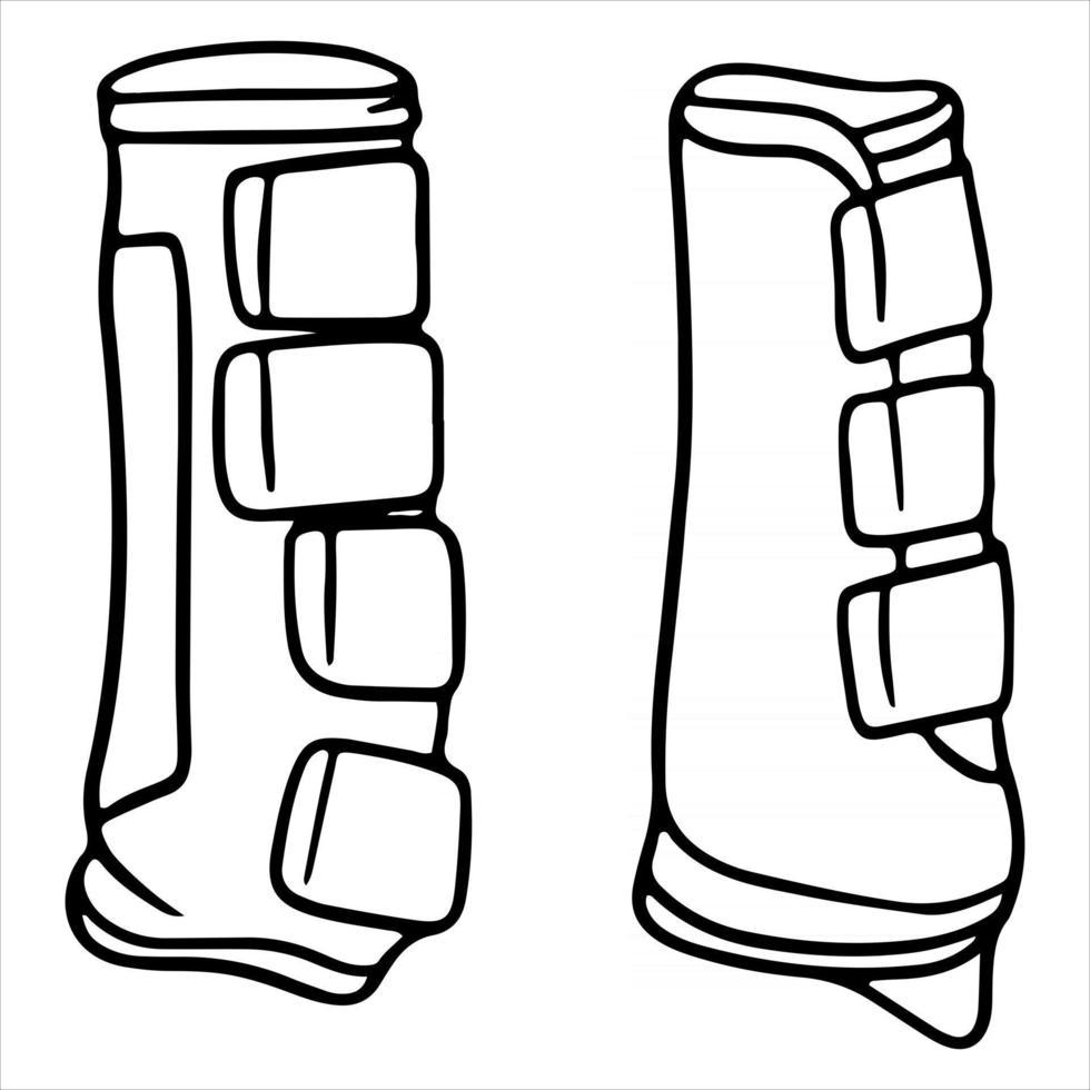 Geschirr für ein Pferd Schutzschuhe für eine Pferdevektorillustration im Linienstil für ein Malbuch vektor