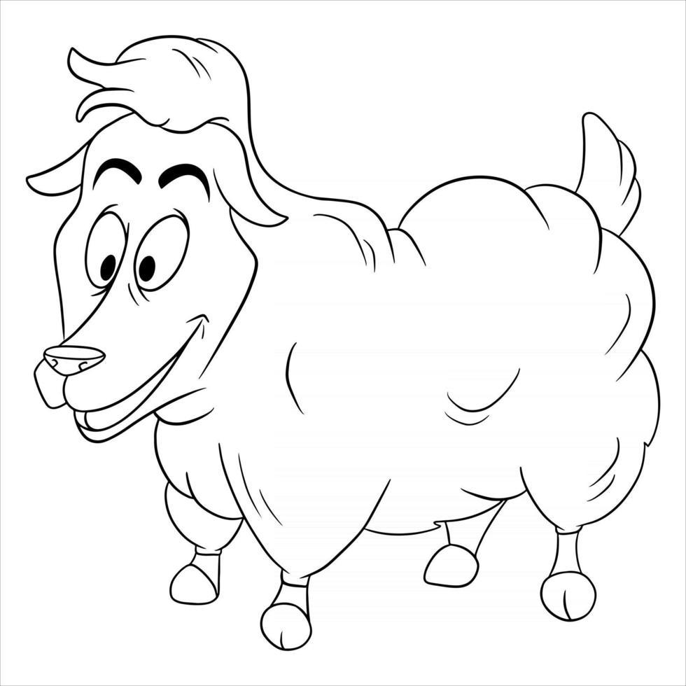Tiercharakter lustige Schafe im Linienstil Malbuch vektor