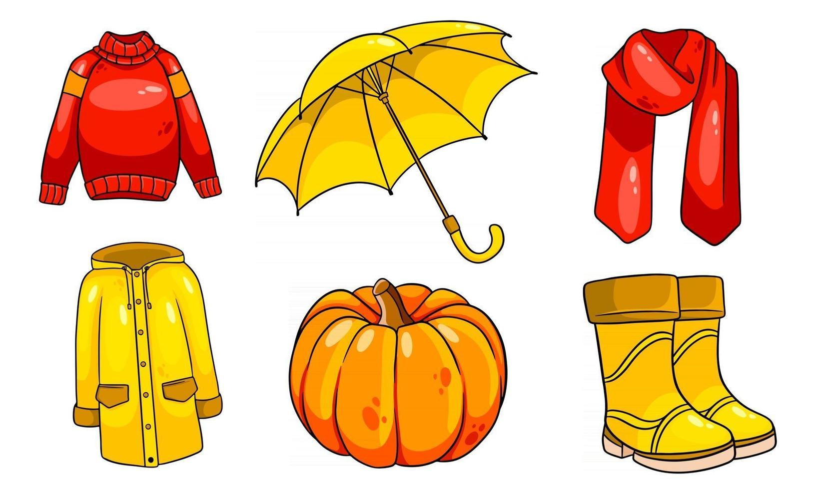 Herbst eingestellt. Kürbis, Schal, Regenmantel, Pullover, Gummistiefel, Regenschirm. vektor