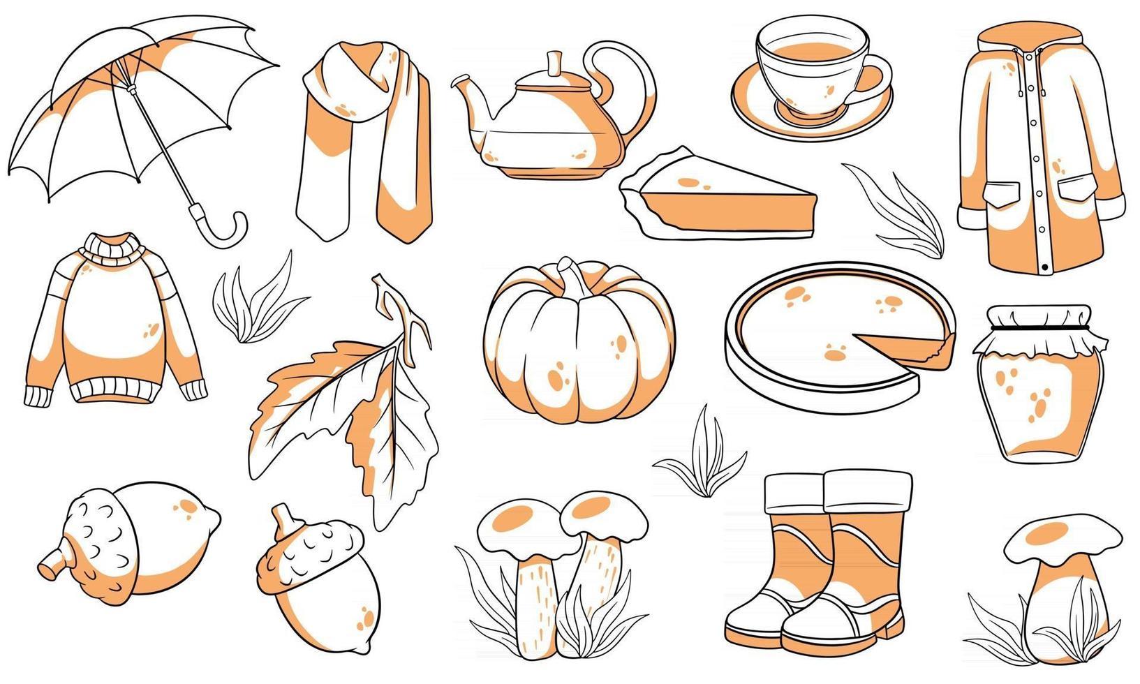 Herbst eingestellt. große Sammlung von Herbstartikeln. vektor