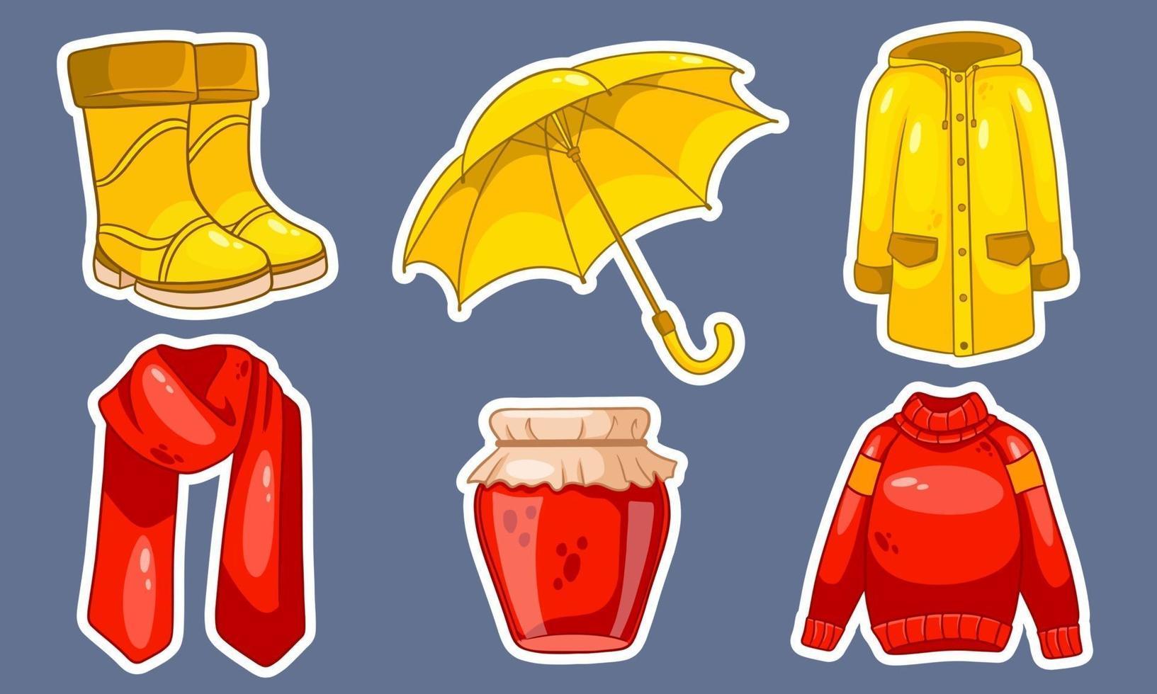 Herbst eingestellt. Aufkleber. Marmelade, Schal, Regenmantel, Pullover, Gummistiefel, Regenschirm. vektor