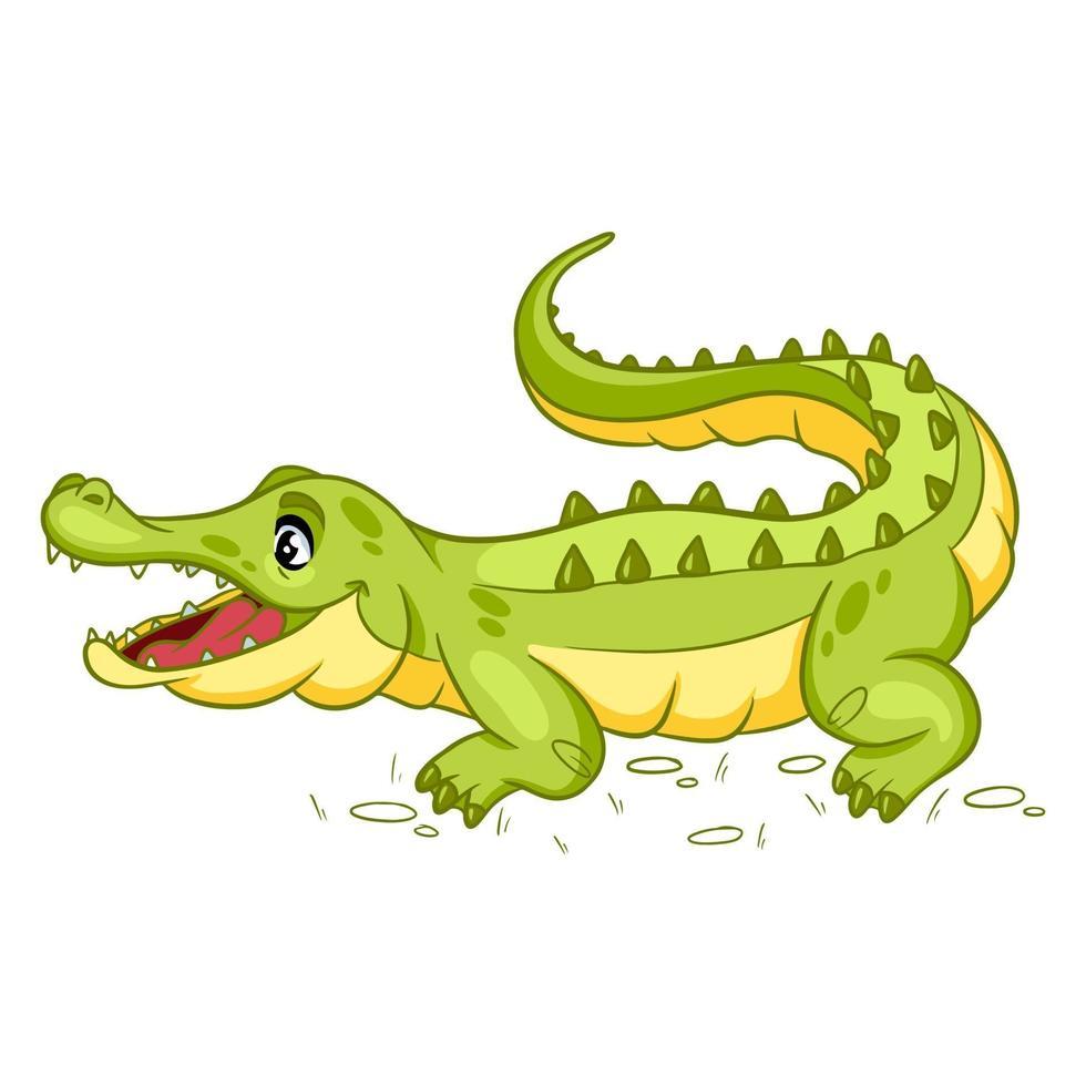 Tiercharakter lustiges Krokodil im Cartoon-Stil. Kinderillustration. vektor