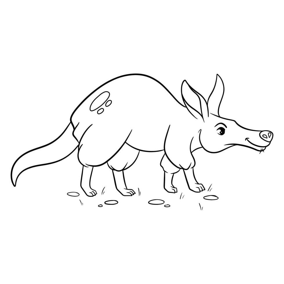 Tiercharakter lustiges Erdferkel im Linienstil. Kinderillustration. vektor