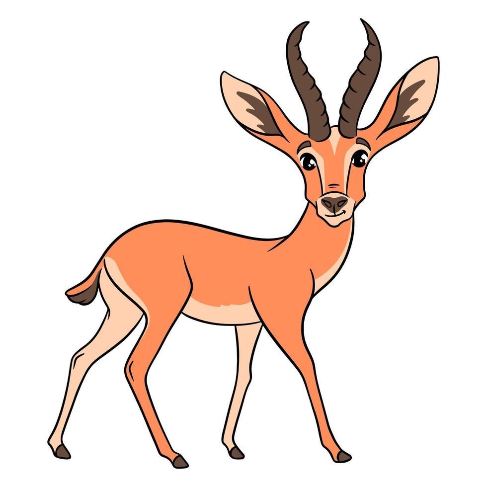 Tierfigur lustige Gazelle im Cartoon-Stil. Kinderillustration. vektor