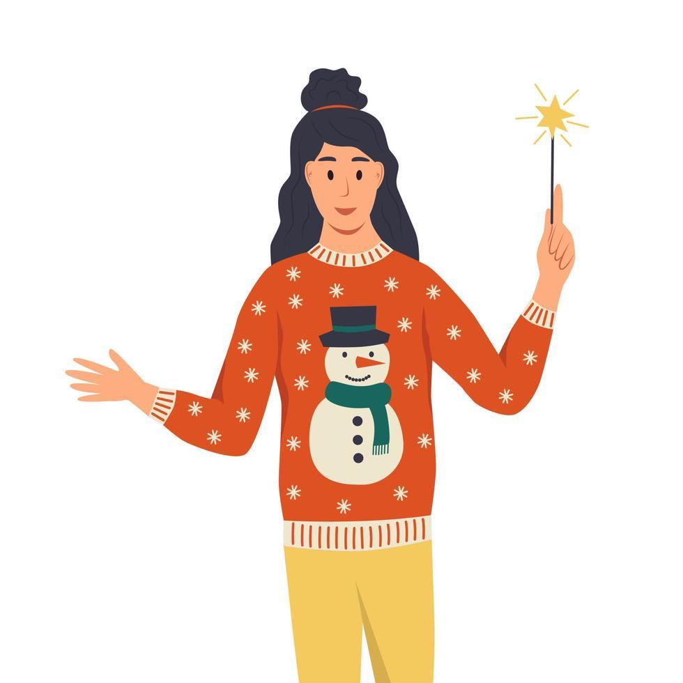 Frau im hässlichen Pullover mit Wunderkerzen. ein junges mädchen feiert das neue jahr, weihnachten. flache Cartoon-Vektor-Illustration vektor