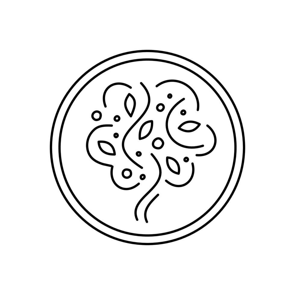 Baumlogo in einem Kreis auf weißem Hintergrund. stilisierter Baum - Emblem im flachen Stil. Pflanzensilhouette vektor