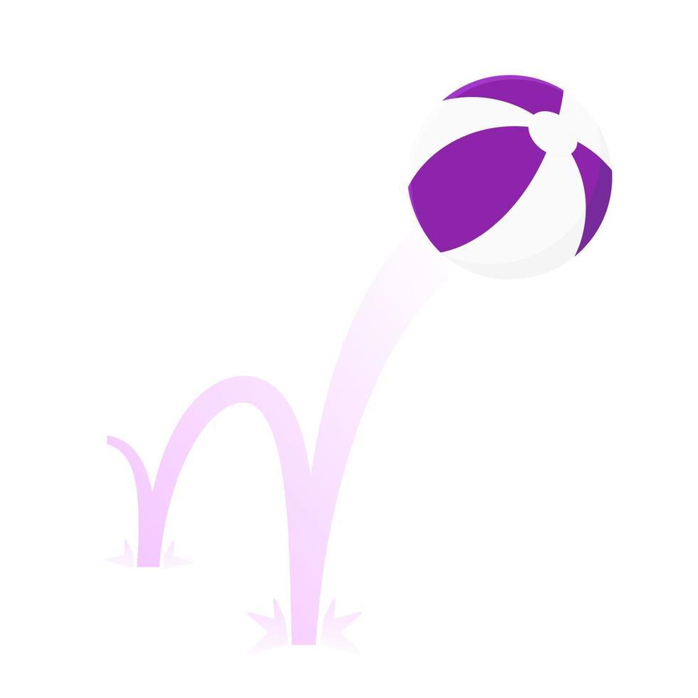 Springen Beach Ball Flat Style Design Vector Illustration Symbol Zeichen isoliert auf weißem Hintergrund.