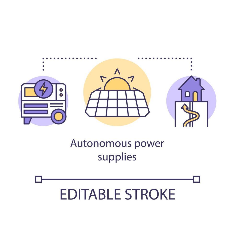 Konzeptsymbol für autonome Stromversorgungen vektor