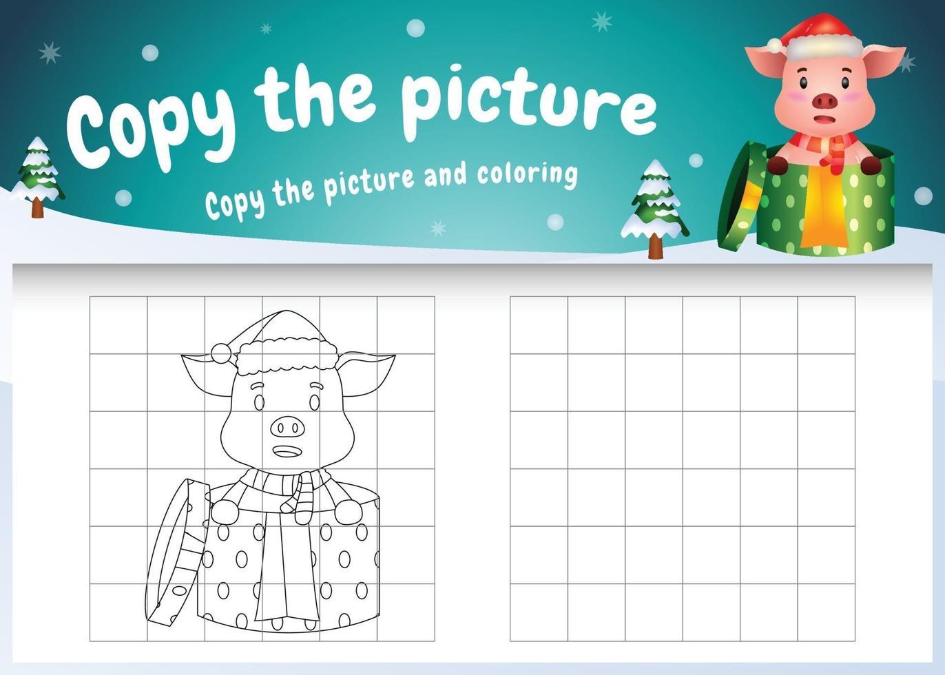 Kopieren Sie das Bild Kinderspiel und die Malvorlage mit einem süßen Schwein im Weihnachtskostüm vektor