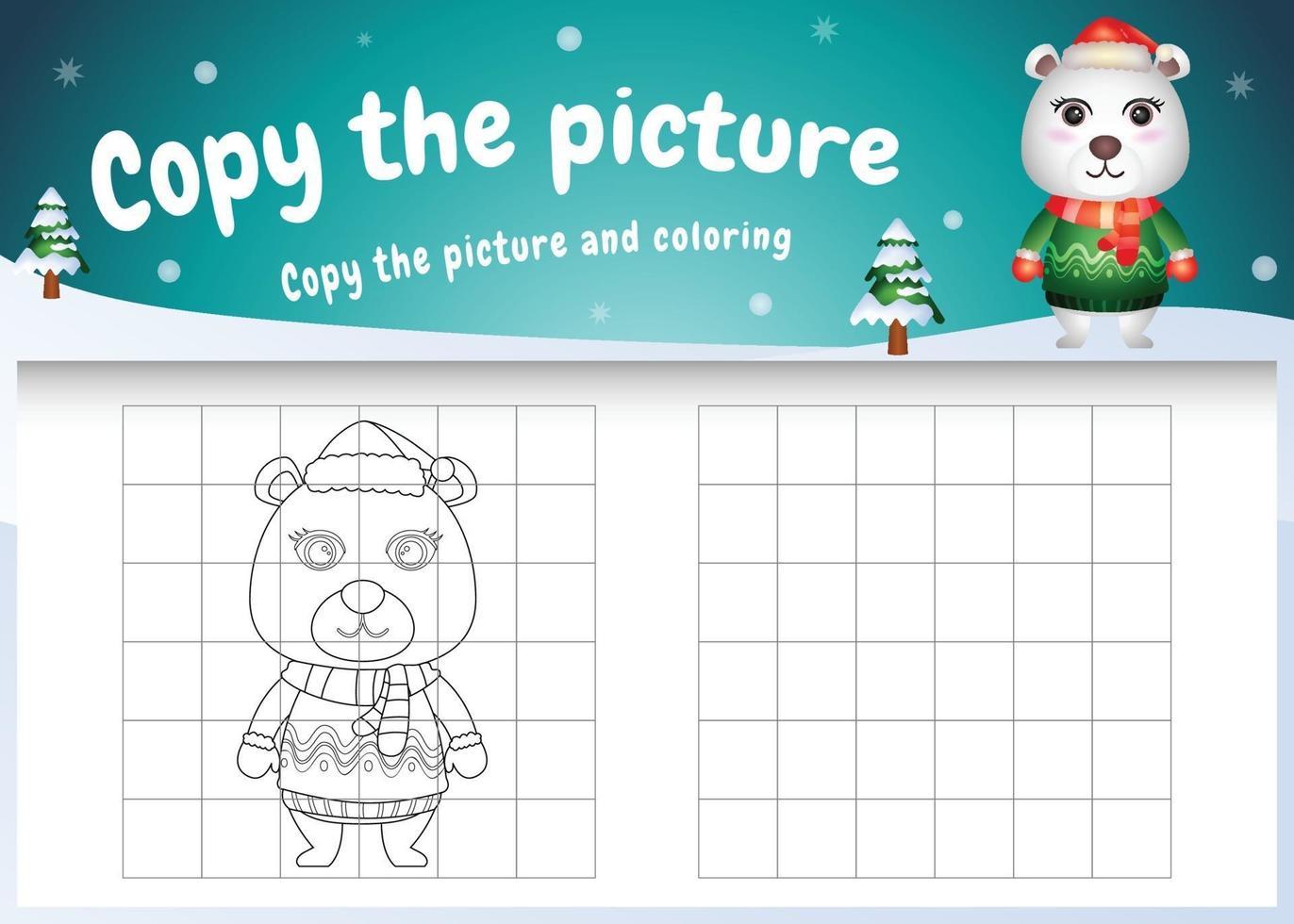 Kopieren Sie das Bild Kinderspiel und die Malvorlage mit einem süßen Eisbären im Weihnachtskostüm vektor