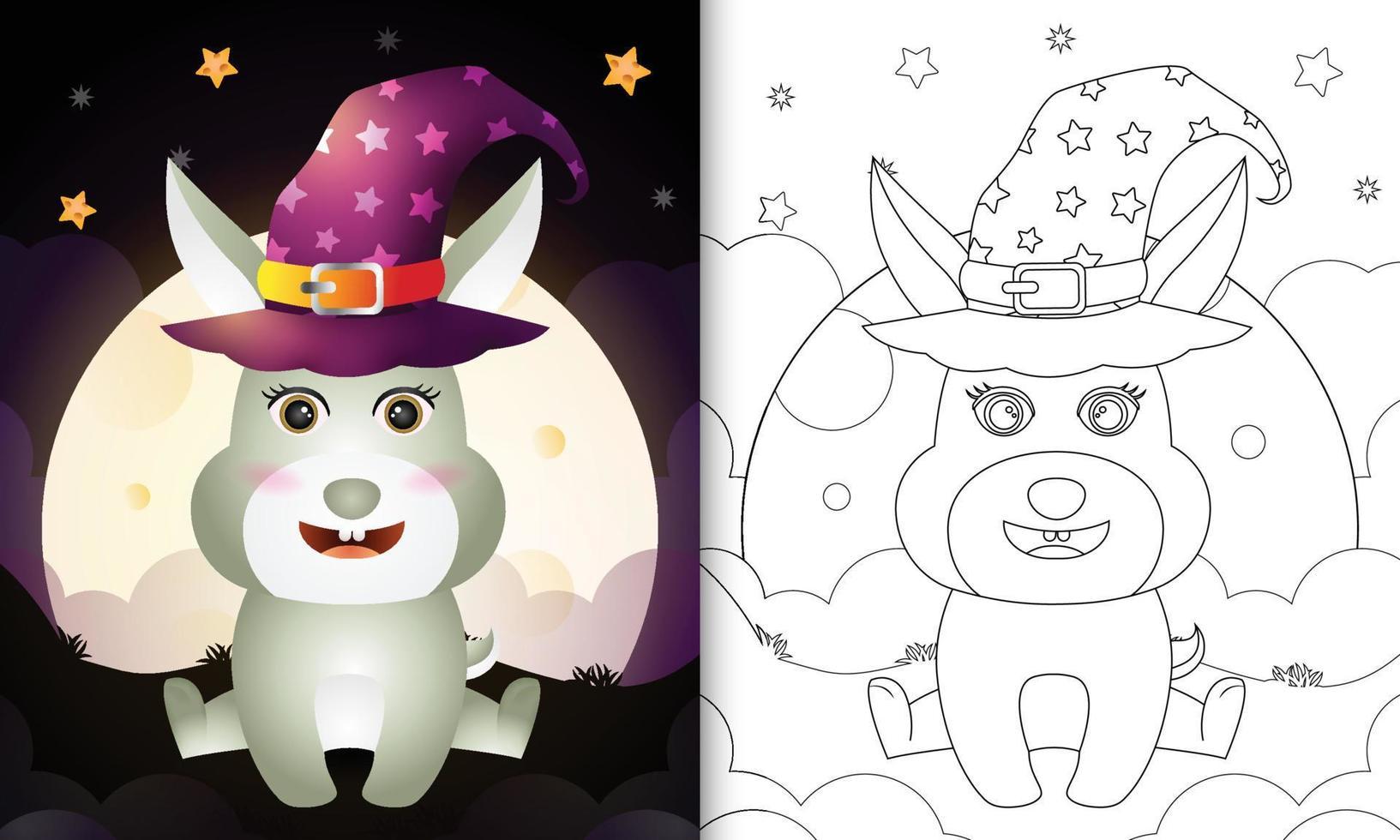 Malbuch mit einem niedlichen Cartoon-Halloween-Hexe-Kaninchen vor dem Mond vektor
