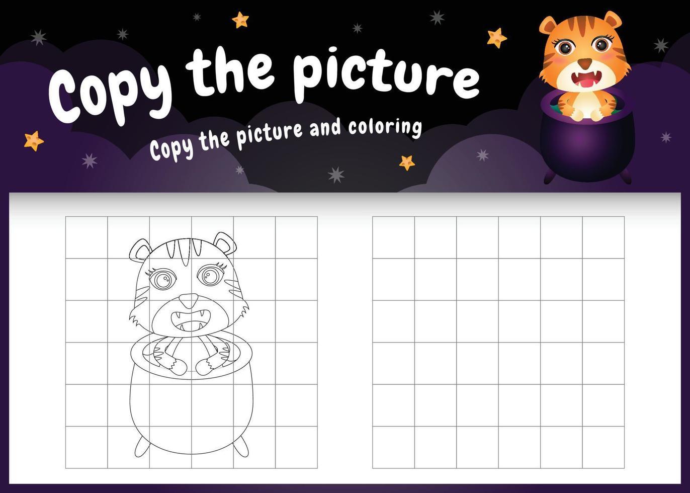 kopiere das bild kinderspiel und die ausmalseite mit einem süßen tiger mit halloween-kostüm vektor