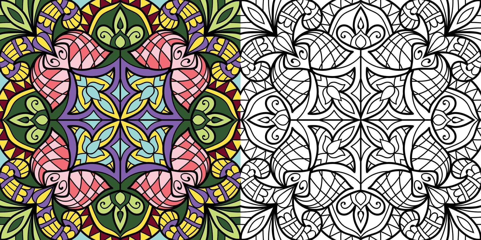 Mandala Design Malbuchseite für Erwachsene Illustration vektor