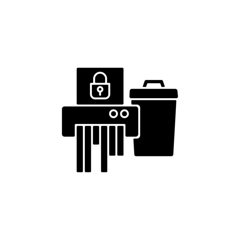 Schwarzes Glyphensymbol zur Entsorgung sensibler Informationen vektor